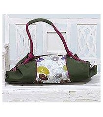 leather accent batik cotton duffel bag, 'beach outing' (india)