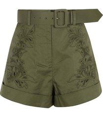 self-portrait khaki embroidered shorts