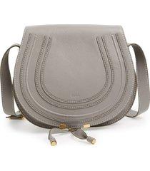 chloe medium marcie leather crossbody bag - grey