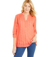 style & co textured v-neck top, created for macy's