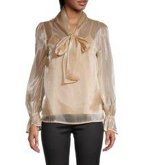 avantlook women's chiffon pussycat bow blouse - beige - size xs