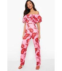 scuba bloemen wide leg jumpsuit met uitgesneden hals en ruches, pink