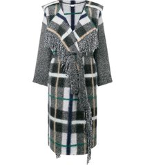 checked belted cardigan