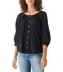 women's lucky brand lace inset embroidered blouse, size small - black