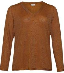 carmaggie l/s v-neck pullover knt stickad tröja brun only carmakoma