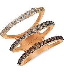 le vian women's 14k strawberry gold® & chocolate ombré diamond® ring/size 7 - size 7