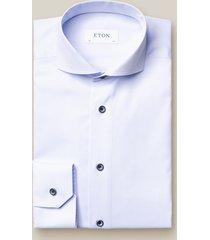 eton overhemd licht twill navy knopen cutaway slim fit