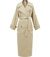 batwing split-back cotton trench coat