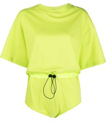 red valentino drawstring cotton-jersey bodysuit - yellow