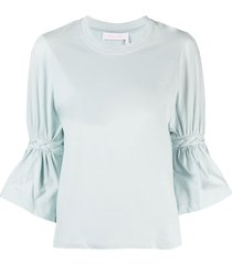 see by chloé braided sleeve t-shirt - blue
