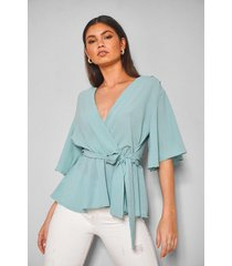 frill sleeve blouse, mint
