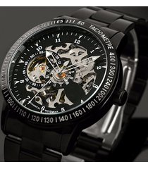 classic steampunk stainless steel skeleton mechanical watch