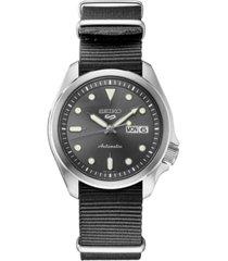 seiko men's automatic 5 sports gray nylon strap watch 40mm
