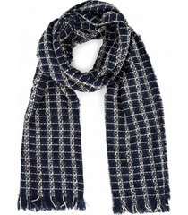 amaro feminino lenço longo tweed, azul