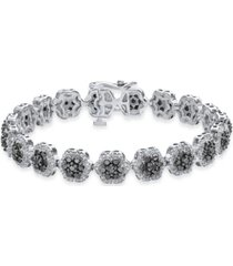 diamond floral cluster link bracelet (5 ct. t.w.) in sterling silver