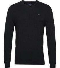 bradley crew neck sweater gebreide trui met ronde kraag zwart lexington clothing