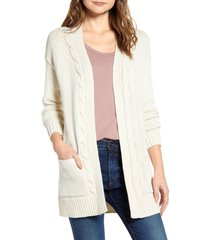 women's lucky brand cable accent cotton blend cardigan, size x-small - beige