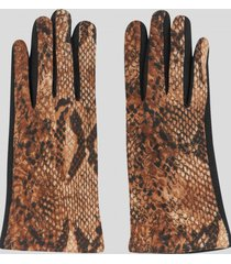 guantes touch animal print beige baziani