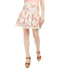 guess nina printed cotton eyelet skirt
