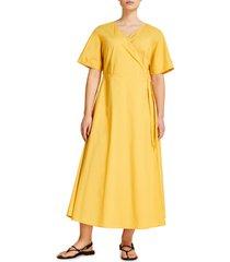 plus size women's marina rinaldi dolomiti poplin wrap dress, size 12w - yellow