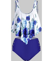 plus size crisscross floral print overlay tankini swimwear
