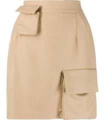 natasha zinko high-waisted multi-pocket skirt - neutrals