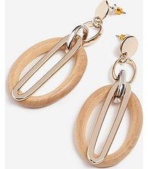 *wood oval link drop earrings - brown