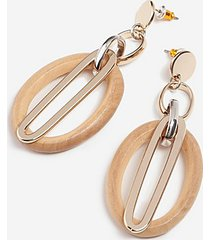*wood oval link drop earrings - brown