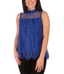 ny collection mock-neck lace top