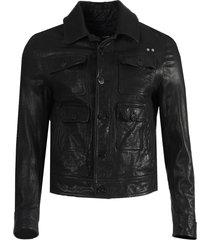 travel pocketed washed leather jacket