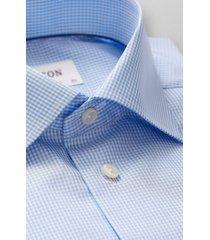 men's big & tall eton contemporary fit check dress shirt, size 18 - blue