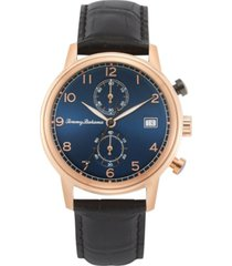 tommy bahama men's riviera black embossed leather strap watch, 44mm