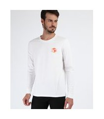 camiseta masculina brasão manga longa gola careca branca