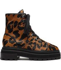 maylova leopard suede combat bootie - 10.5 leopard suede