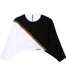 balmain two-tone sweatshirt teen