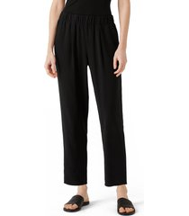 eileen fisher tapered silk ankle pants, size xx-small in black at nordstrom