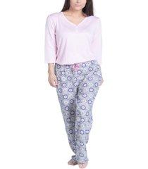 muk luks plus size solid long-sleeve t-shirt & printed pants pajama set