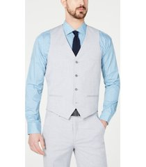 alfani red men's slim-fit performance stretch wrinkle-resistant light gray suit vest, created for macy's