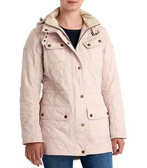 arrow quilted hooded jacket