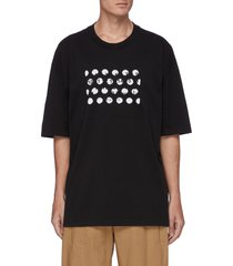 hole punched print cotton t-shirt