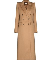 alexander mcqueen double-breasted long coat - neutrals