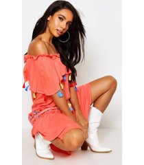 bohemian embroidered skater dress, coral