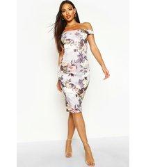 bloemenprint midi jurk met open schouders, meerdere