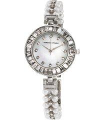 adrienne vittadini collection women's silver quartz watch with roman numerals and mother of pearl dial and stone accent strap