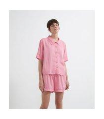 pijama americano curto em viscose com tingimento natural | lov | rosa | gg