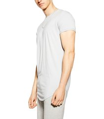 men's topman scotty longline slim fit t-shirt, size xx-large - grey