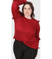 sweater rojo minari voladitos plus size