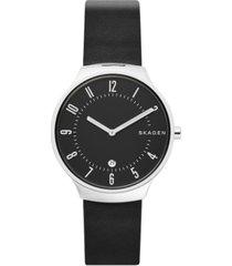 skagen men's grenen black leather strap watch 38mm