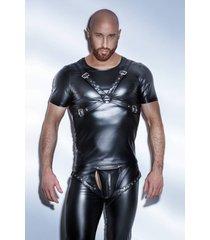 noir handmade wetlook heren t-shirt harnasstijl