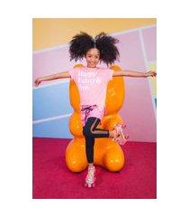 t-shirt estampada i am happy funny & free rosa-neon